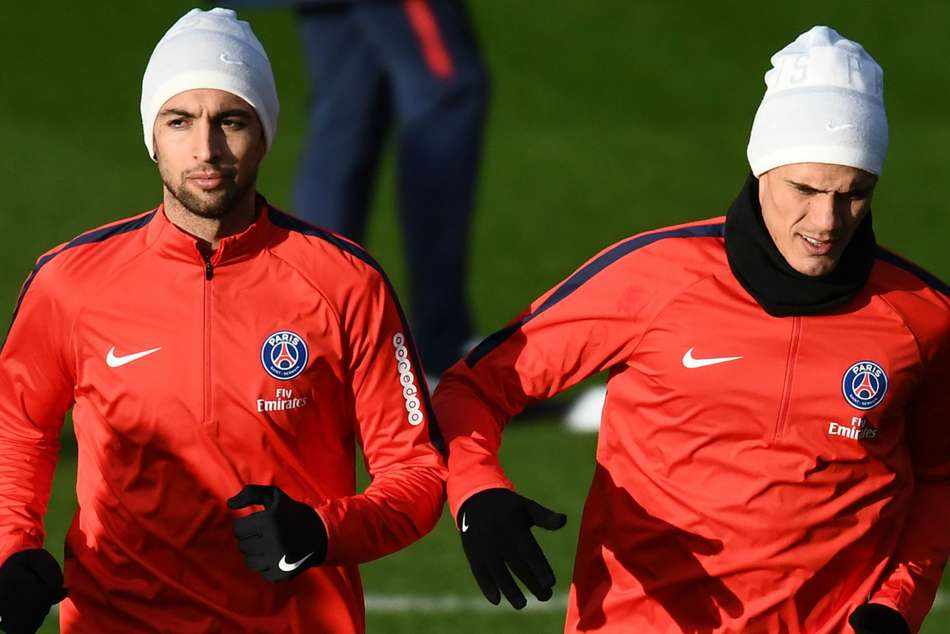 PSG duo Javier Pastore (left) and Edinson Cavani overlooked for the second match in a row