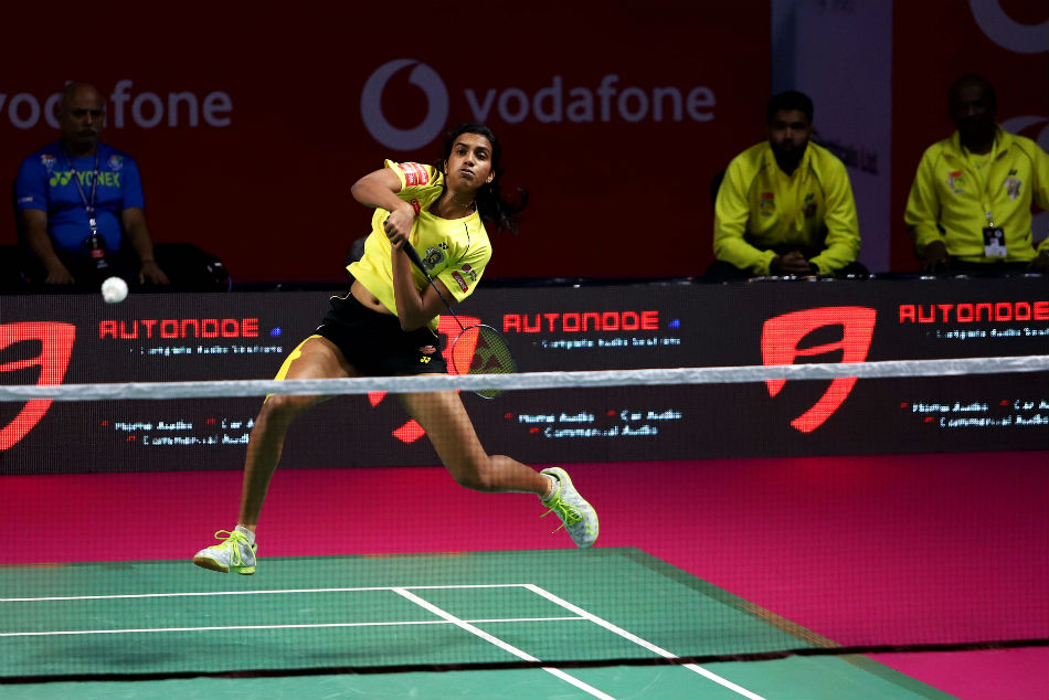 PV Sindhu in action on Monday for the Chennai Smashers.