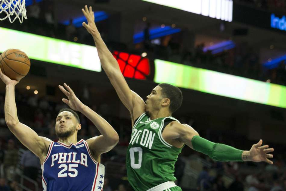 Celtics' Jayson Tatum and Sixers' Ben Simmons (left) in action