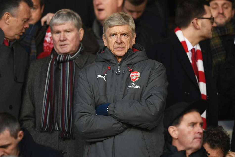 Arsene Wenger in the stands at City Ground