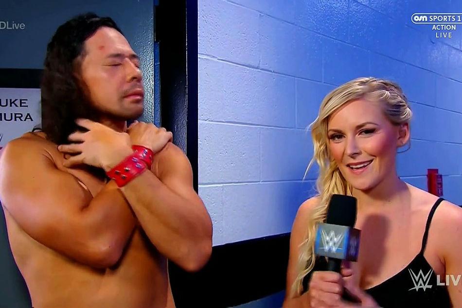 Nakamura (left) with Renee Young (image courtesy Dailymotion)