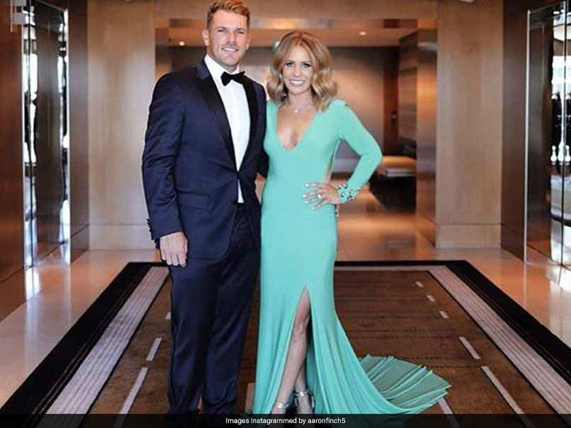 Aaron Finch and fiancee Amy Griffiths