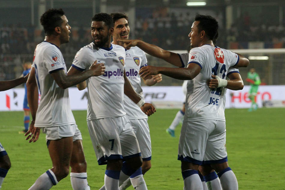 Chennaiyin FC players celebrate after taking the lead against FC Goa during their ISL match (Image: ISL Media)
