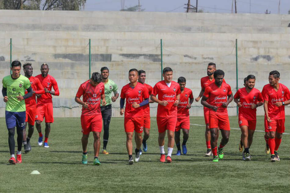 Churchill Brothers players warm-up during a training session. Credit: AIFF Media