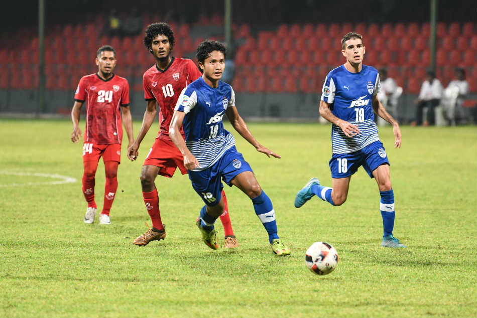 Semboi Haokip of Bengaluru FC in action against TC Sports Club of Maldives during their AFC Cup play-off game in Male on Tuesday (Image: BFC Media)