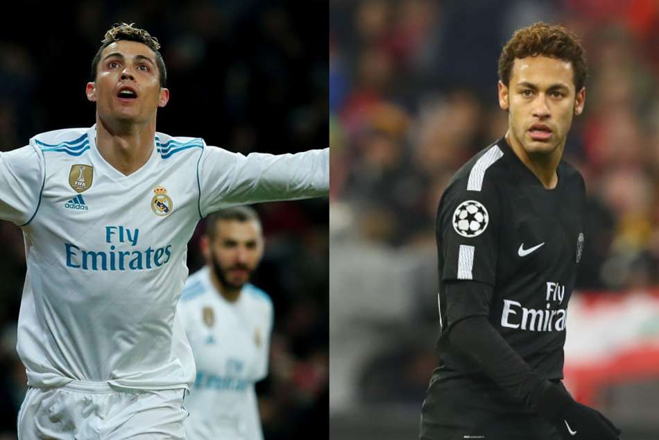 Cristiano Ronaldo (left) of Real Madrid and Neymar of PSG