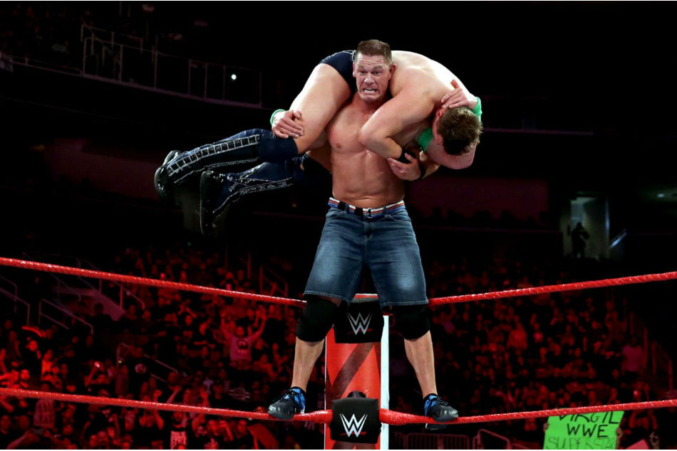 John Cena hits the AA on WWE Raw (image courtesy WWE.com)