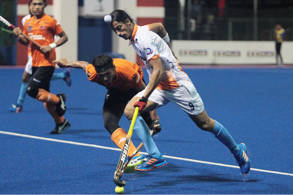 Dilpreet Singh of India during the 2017 Sultan of Johor Cup bronze medal  match against Malaysia