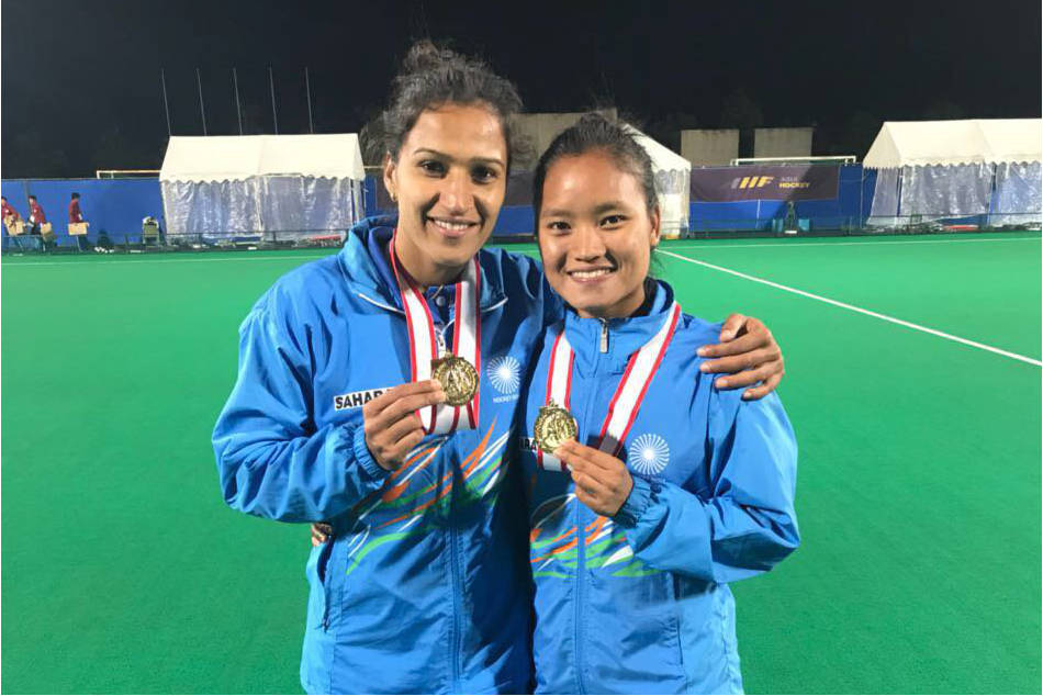 Lalremsiami (right) with Indian womens hockey team captain Rani Rampal (Image: Twitter/@imranirampal)