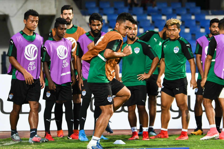 Malsawmzuala of Bengaluru FC during a training session ahead of the AFC Cup match against Abahani Dhaka at the Sree Kanteerava Stadium