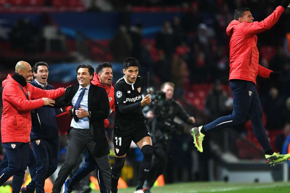 Sevilla boss Vincenzo Montella celebrates after beating Manchester United