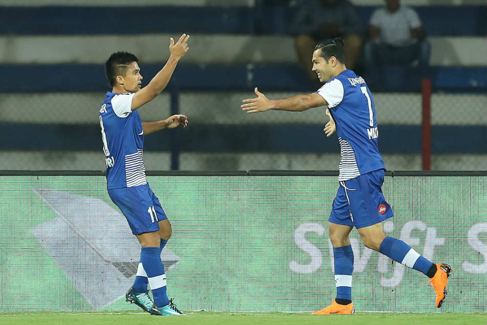 Sunil Chhetri of Bengaluru FC celebrates with teammate Miku after scoring against FC Pune City during their Indian Super League semi-final second leg at the Sree Kanteerava Stadium on Sunday (Image: ISL Media)