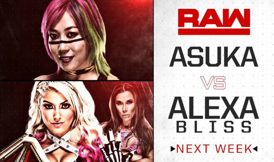 Asuka (up) vs. Alexa Bliss (image courtesy Twitter)