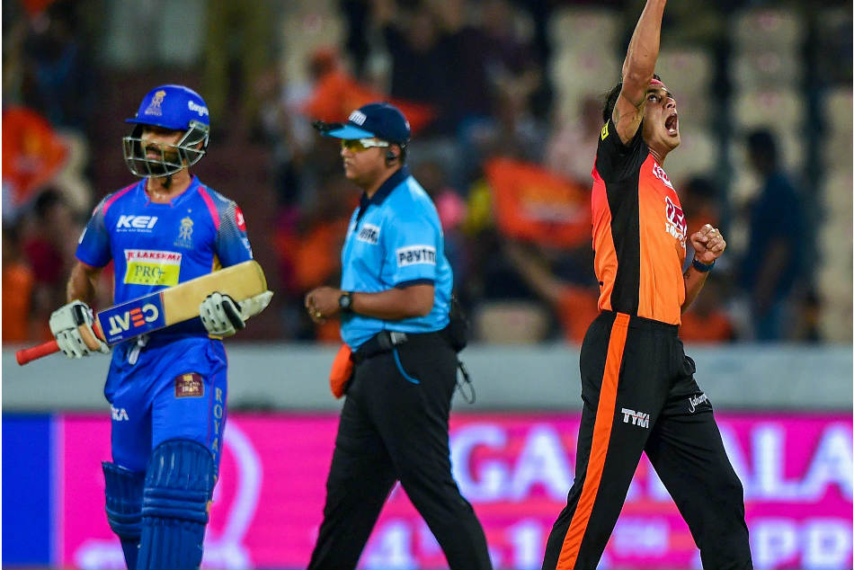 Sunrisers Hyderabad player Siddarth Kaul celebrates after dismissing Rajasthan Royals skipper Ajinkya Rahane during their Indian Premier League match at the Rajiv Gandhi International Stadium in Hyderabad on Monday