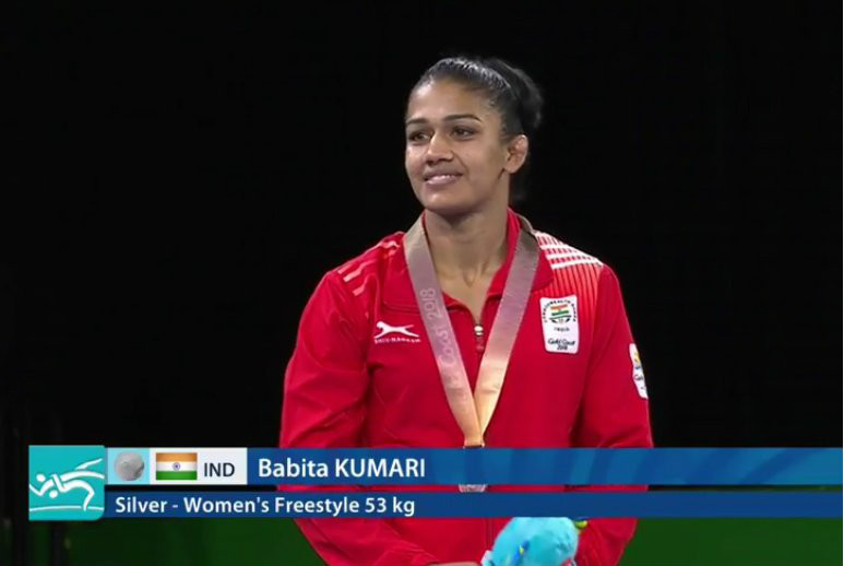Babita Kumari settled for silver in the womens 53kg freestyle wrestling