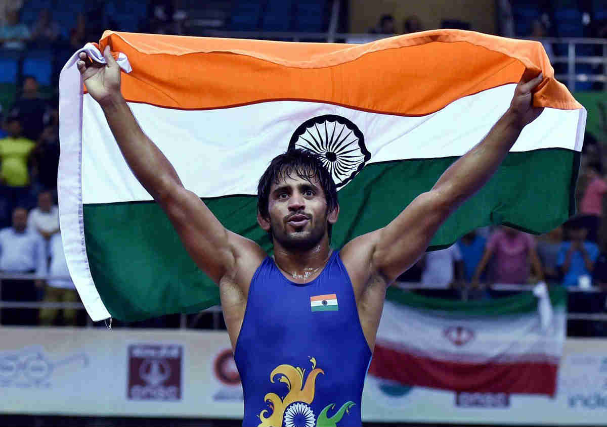 Bajrang Punia of India won the gold in mens 65kg freestyle wrestling