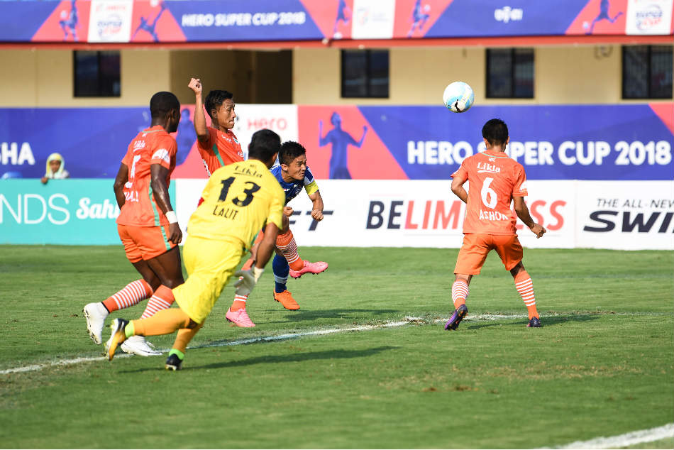Bengaluru FCs Sunil Chhetri heads in from close range against NEROCA FC during their Super Cup quarter-final at the Kalinga Stadium in Bhubaneswar on Friday