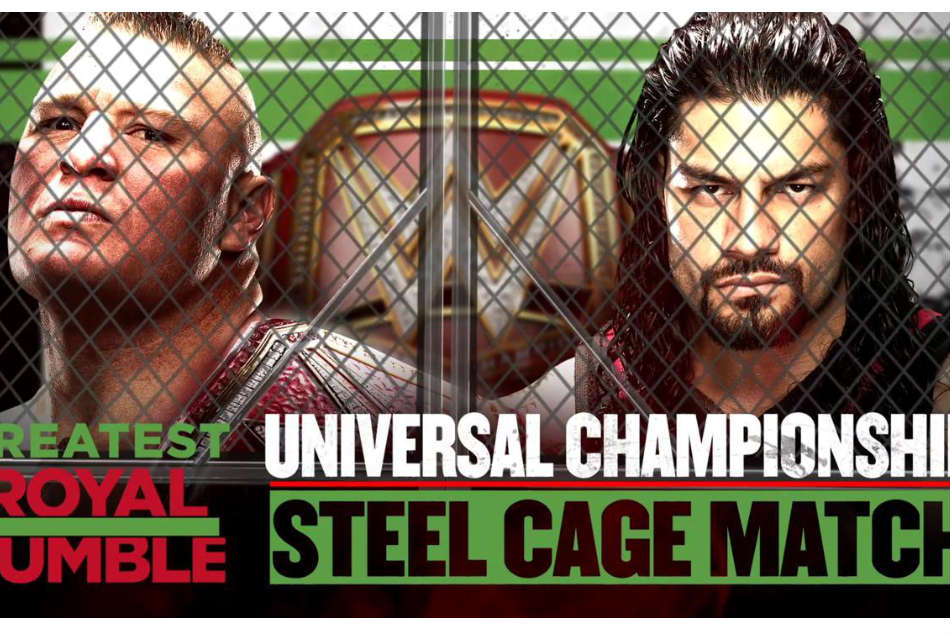 The promotional poster for the Brock Lesnar vs Roman Reigns match at the Greatest Royal Rumble (Image: Twitter)