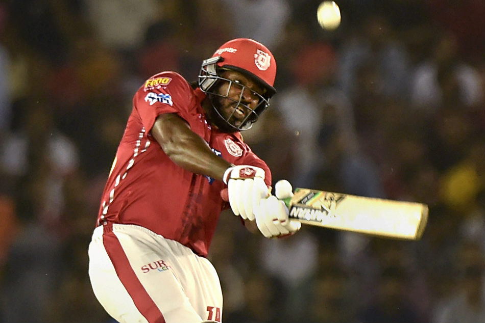 Kings XI Punjab batsman Chris Gayle en route to his quickfire 63 off 33 during their match against Chennai Super Kings at the Punjab Cricket Association Stadium in Mohali on Sunday