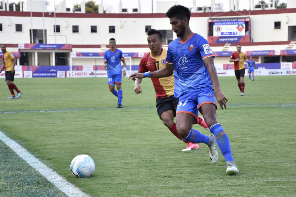 A slice of the action during the Super Cup semi-final between FC Goa and East Bengal at the Kalinga Stadium in Bhubaneswar on Monday (Image: AIFF Media)