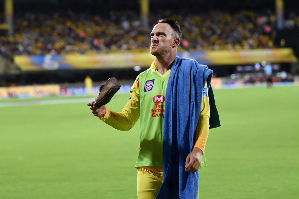 Faf du Plessis of Chennai Super Kings (CSK) looks at the crowd after a shoe was hurled at him during the IPL 2018 game against Kolkata Knight Riders at the MA Chidambaram Stadium in Chennai