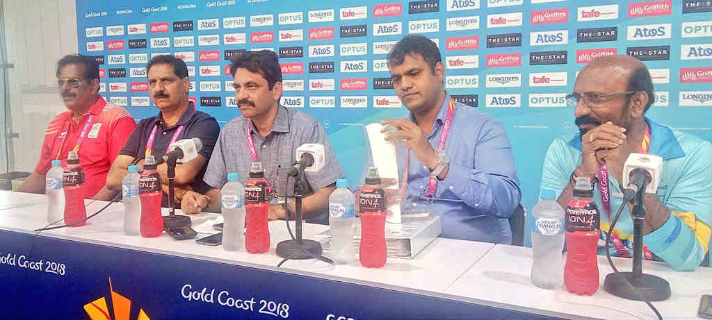 India contingent addresses a press meet at Gold Coast, announcing the decision to appeal against CGF move to oust to athletes - KT Irfan and Rakesh Babu