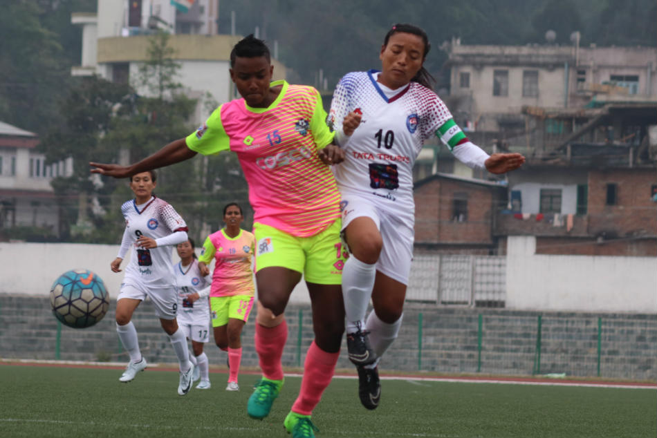 Slice of action from the Eastern Sporting Union and Sethu FC semifinal match of the Hero Indian Womens League in Shillong on Thursday. (Credit: AIFF)