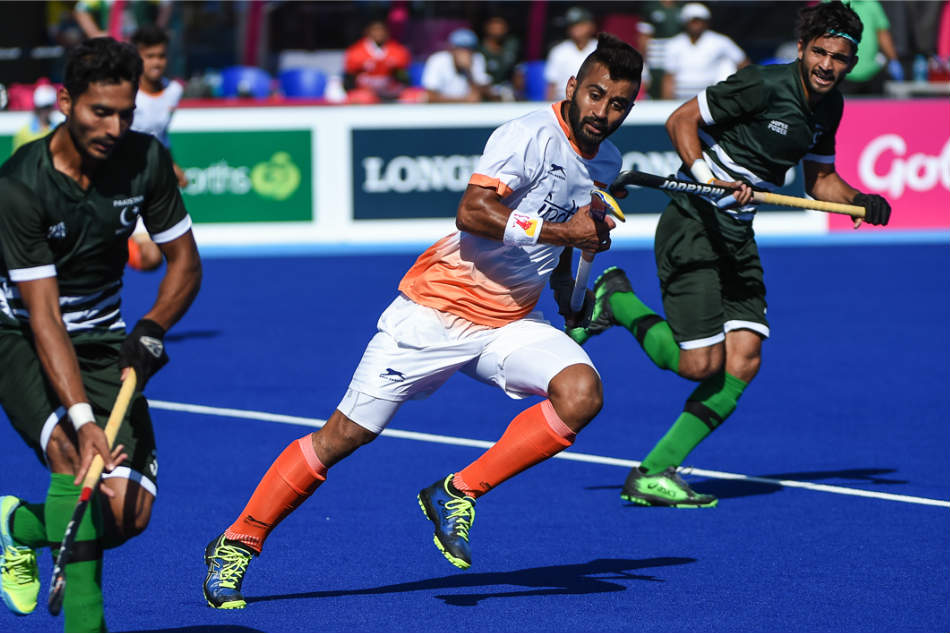 File photo of Indian skipper Manpreet Singh in action during the India-Pakistan pool match at the Commonwealth Games in Gold Coast. (Credit: Hockey India)