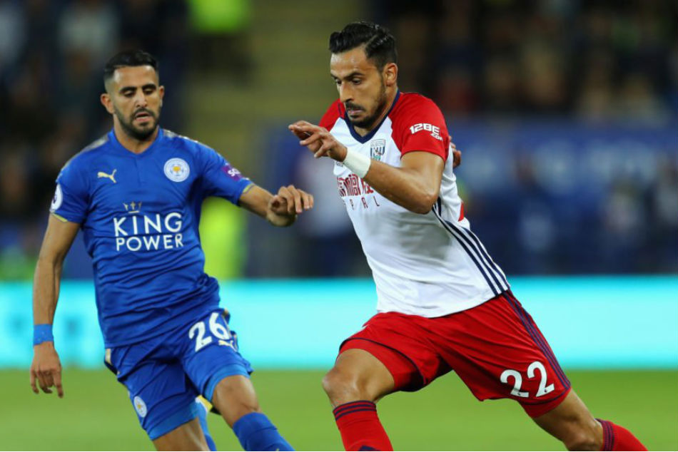 Nacer Chadli (right) of West Brom with Riyad Mahrez of Leicester City (Image: Twitter)