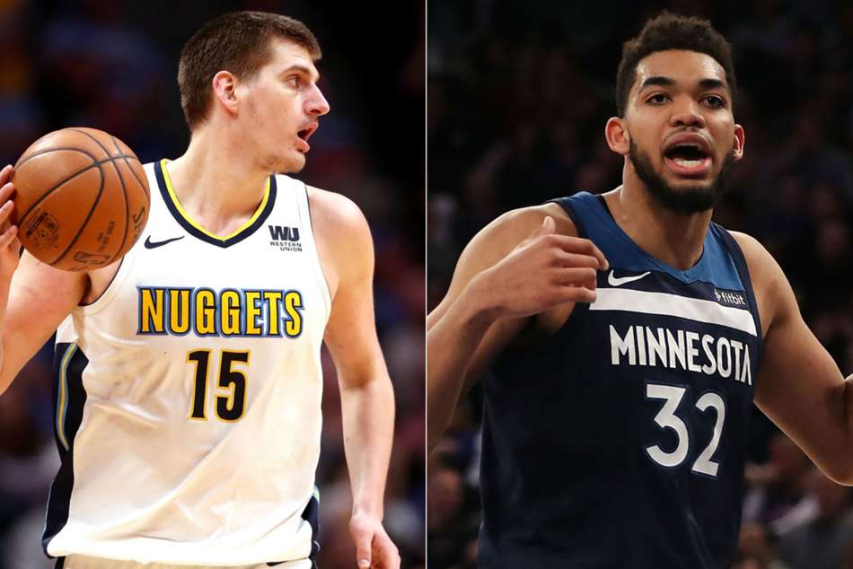 Denver Nuggets star Nikola Jokic (left) and Karl-Anthony Towns of Minnesota Timberwolves