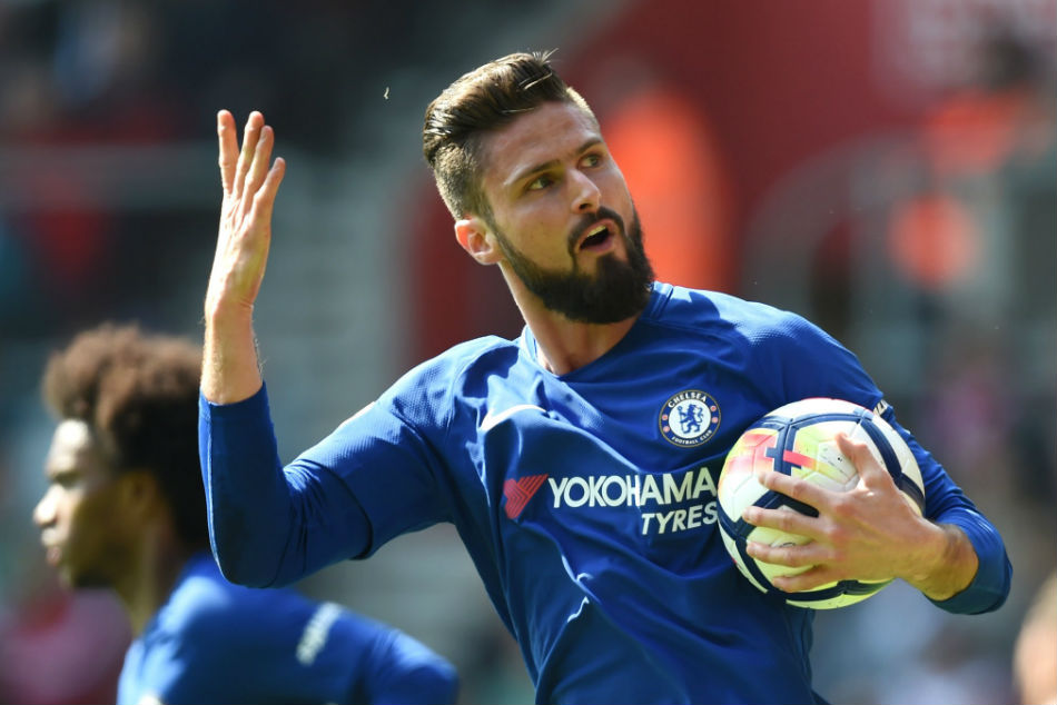Olivier Giroud of Chelsea celebrates after a goal against Southampton during their Premier League match (Image: Twitter)