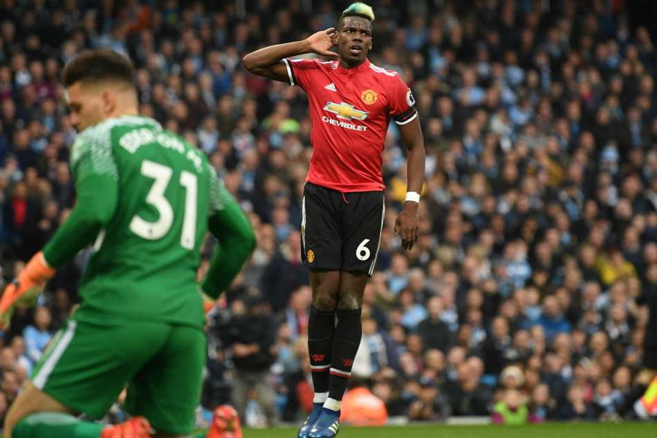 Paul Pogba of Manchester United is overjoyed after scoring his sides equaliser against Manchester City at the Etihad Stadium on Saturday
