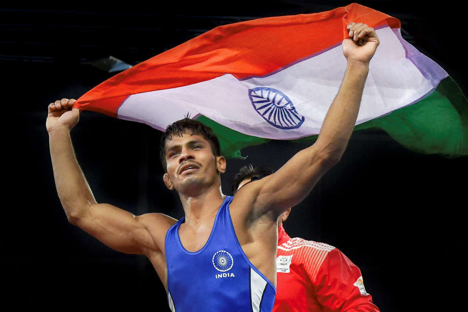 Indias Rahul Aware bags gold in mens 57kg freestyle wrestling