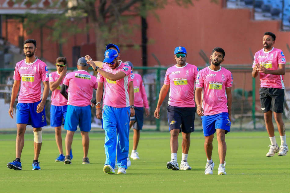 The Rajasthan Royals players attend a training session
