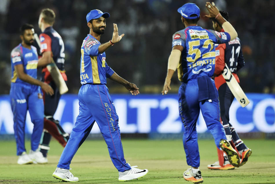 Rajasthan Royals captain Ajinkya Rahane celebrates their victory over Delhi Daredavils during an IPL match at the Sawai Mansingh Stadium in Jaipur on Wednesday