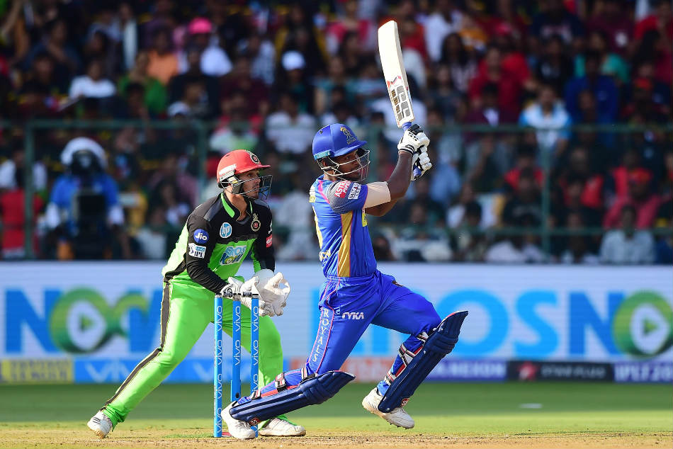 Sanju Samson of Rajasthan Royals hits one on the leg-side during the IPL 2018 match against RCB at the M Chinnaswamy Stadium on Sunday