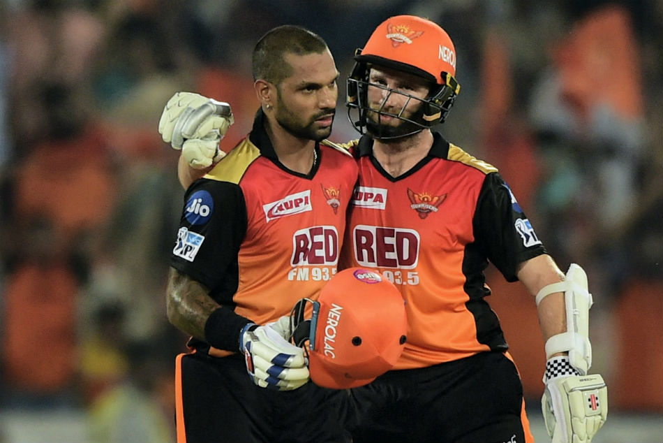 Sunrisers Hyderabads batsmen Shikhar Dhawan and Kane Williamson greets each other after won the IPL 2018 cricket match against Rajasthan Royals by 9 wickets.