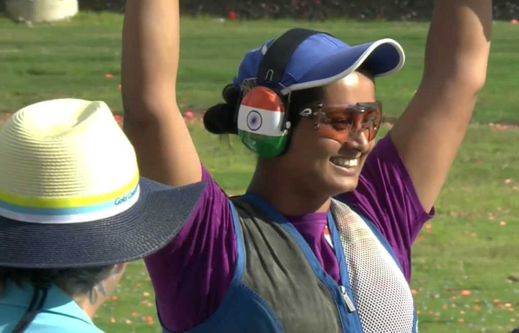 Indias Shreyasi Singh celebrates after winning the gold in the womens double trap at the Commonwealth Games