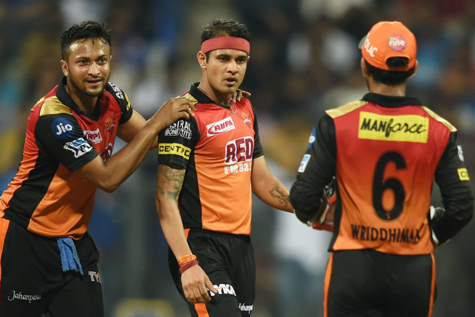 Sunrisers Hydrabad bowler Siddharth Kaul celebrates the wicket of Mumbai Indans batsman Mitchell Mcclenaghan.