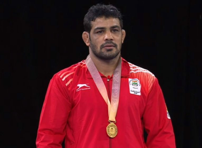 Indias Sushil Kumar wins gold in mens 74kg freestyle wrestling
