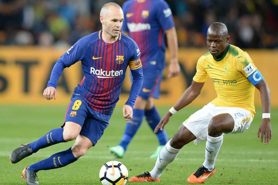 Barcelonas Andres Iniesta (left) in action against Mamelodi Sundowns