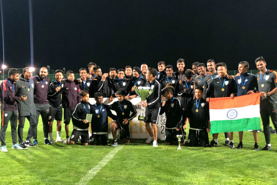 The under 16 boys strike a pose with their spoils. Credit: AIFF