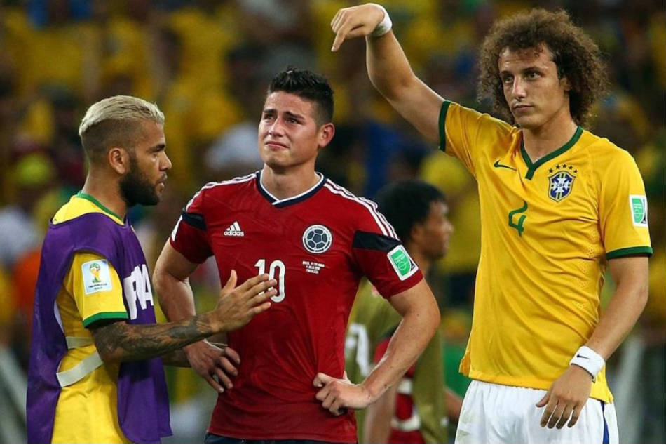 e1ba7ee8548 James Rodriguez of Colombia is consoled by David Luiz of Brazil after the  2014 World Cup