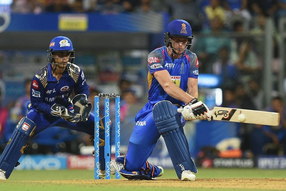 Rajasthan Royals in-form batsman Jos Buttler en route to his unbeaten 94 against the Mumbai Indians at the Wankhede Stadium on Sunday