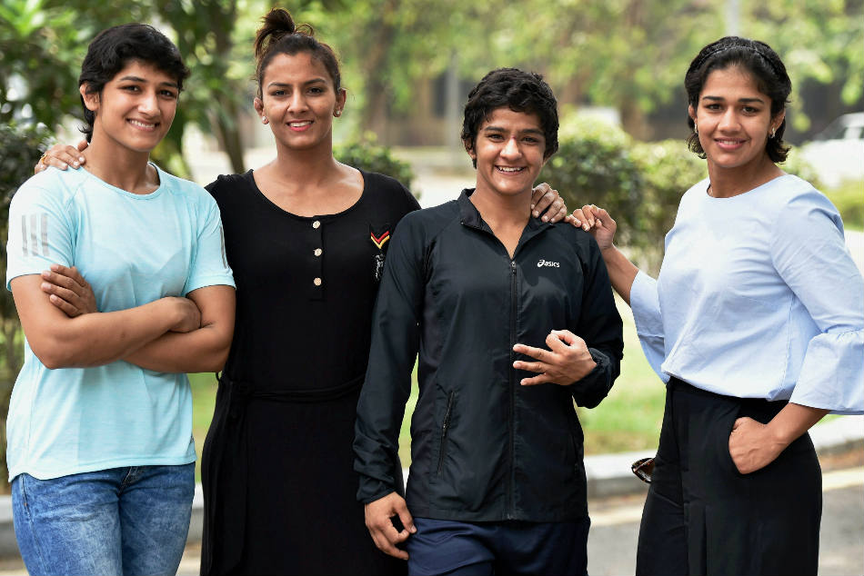 Thirteen Indian wrestlers, including (from left) Sangeeta, Geeta, Ritu and Babita Phogat, have been dropped from the ongoing national camp