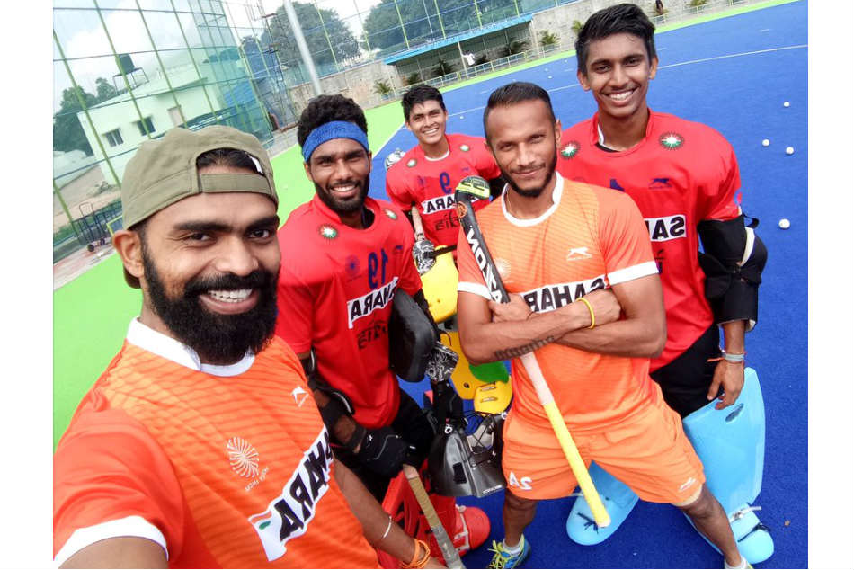 India captain PR Sreejesh (left) with Vikas Dahiya, Krishan Pathak, SV Sunil and Suraj Karkera