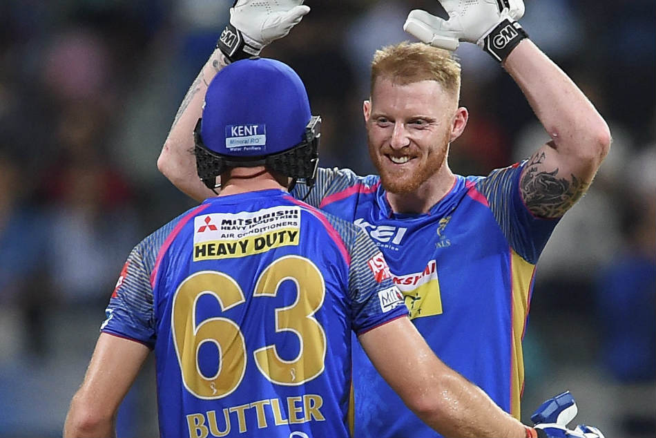 Rajasthan Royals batsmen Ben Stokes and Jos Buttler celebrate their win over Mumbai Indians during their Indian Premier League match in Mumbai on Sunday