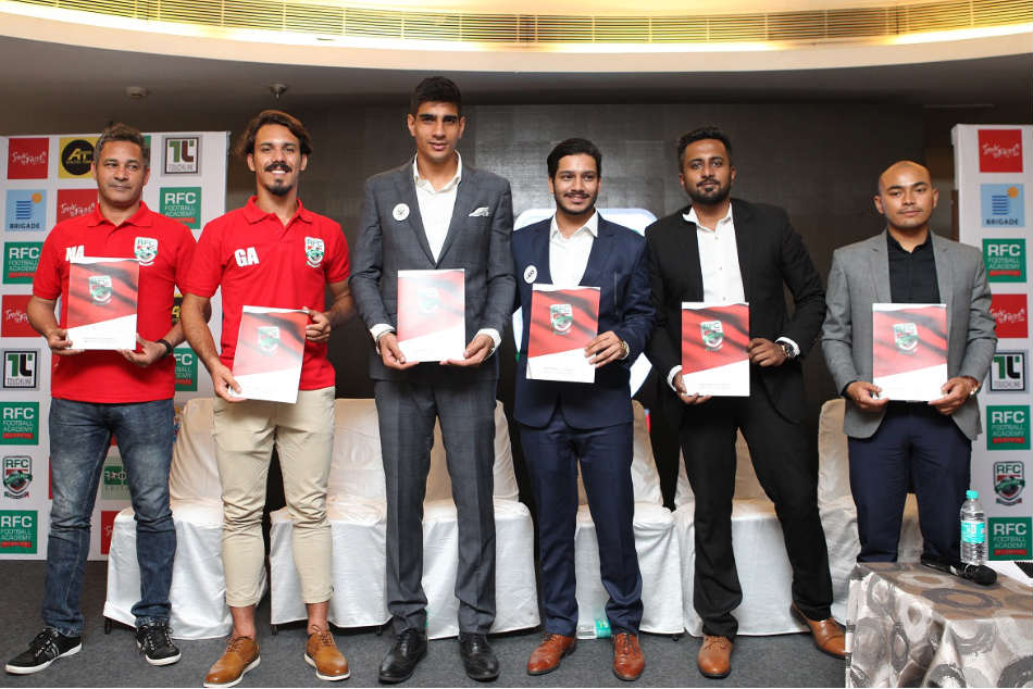 From left Marco Antonio Anjos technical director RFC Football Academy Gabriel Anjos youth development head RFC FA Gurpreet Singh Sandhu India No 1 goalkeeper Abhishek Sharma managing director of Athletes Today Preetham Chandra managing director of RFC FA and Arki Nongrum managing director of Touchline Sports during the launch of the RFC Football Academy in Bengaluru