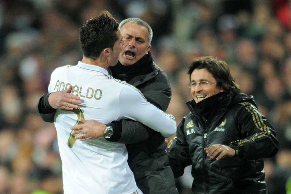 Cristiano Ronaldo (left) with current Manchester United manager Mourinho when he was at the helm of Real Madrid