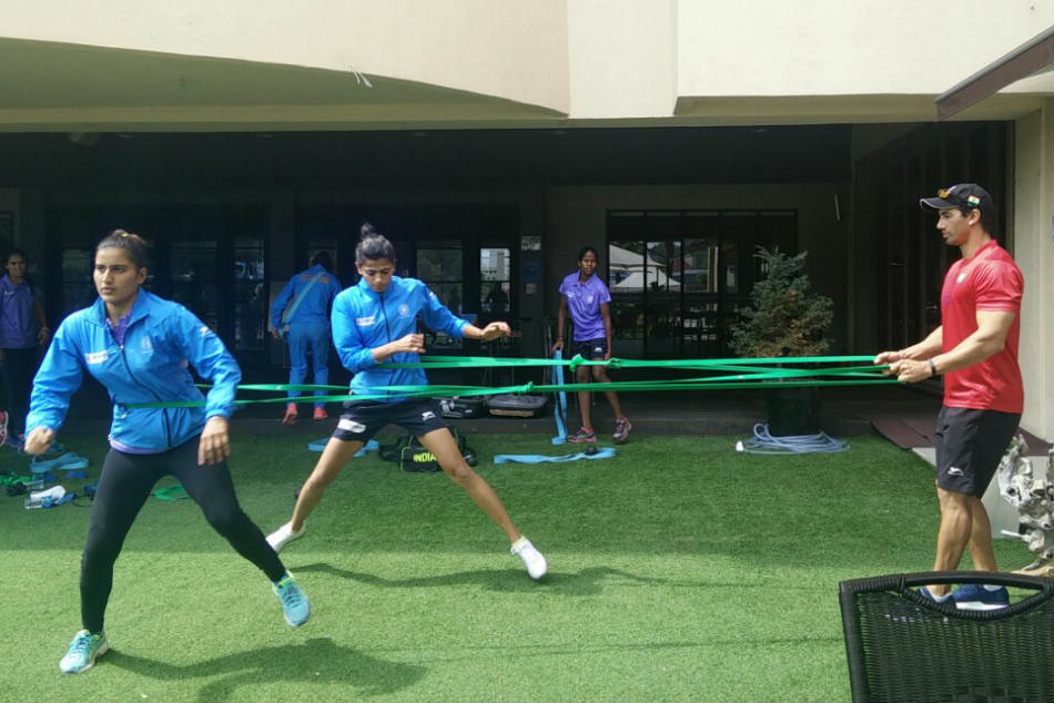 The Indian eves attend a training session. Credit: Hockey India